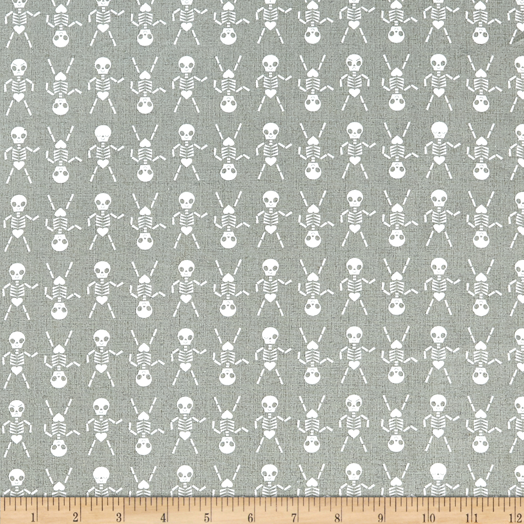 Image of Cotton + Steel Boo Skeleton Dance Natural Fabric