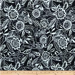 Spandex ITY Jersey Knit Floral Black/White Fabric