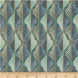 Lavish Metallic Geo Stripe Teal