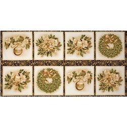 Holiday Flourish 6 Holiday Blocks Panel Metallic Frost Black