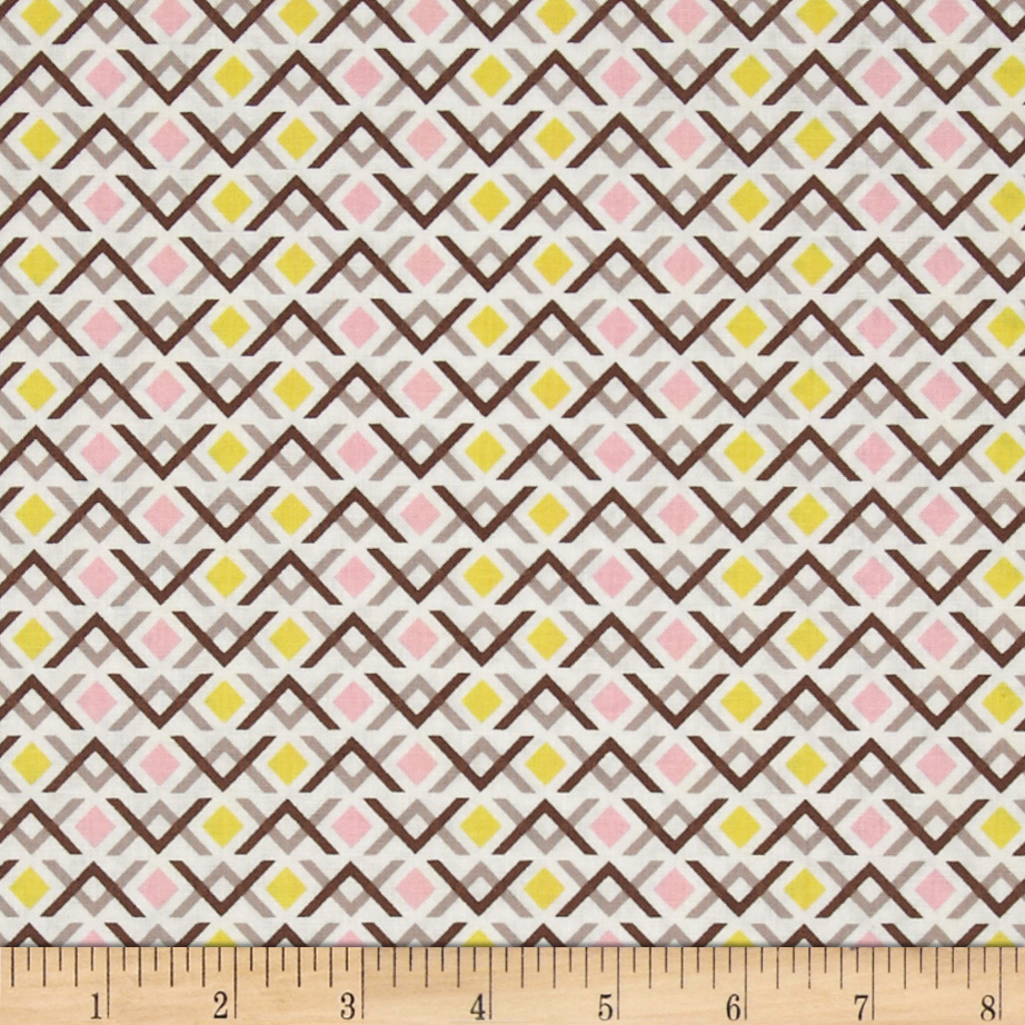 Wishing Well Diamond Geo Pink Fabric