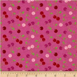 Flannel Tossed Cherries Pink