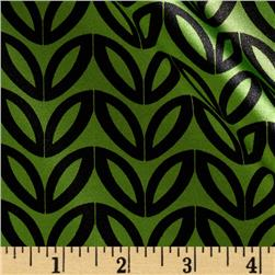 Stretch Charmeuse Satin Leaf Black/Bright Green