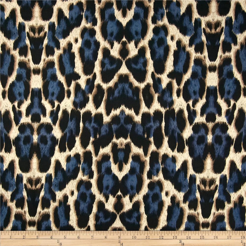 Venice stretch ity jersey knit cheetah blue black for Designer animal print fabric