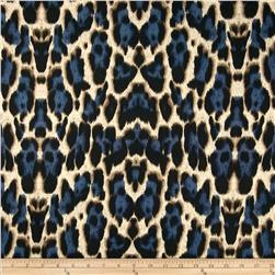 Venice Stretch ITY Jersey Knit Cheetah Blue/Black Fabric