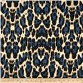 Venice Stretch ITY Jersey Knit Cheetah Blue/Black