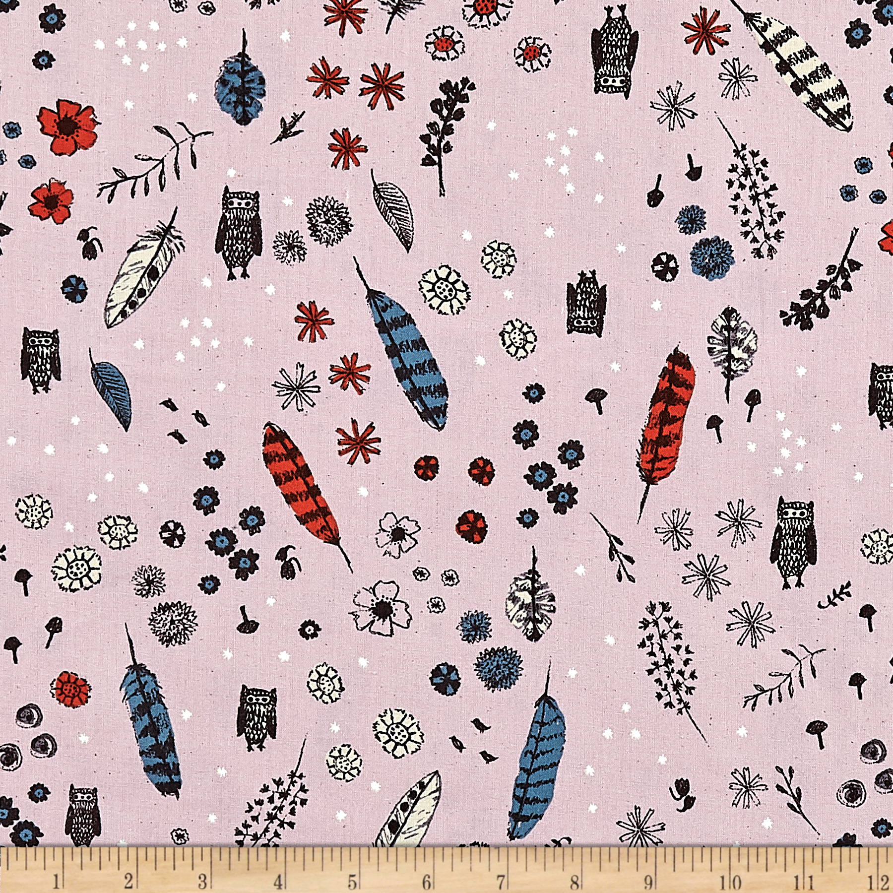 Image of Cotton + Steel Cozy Dream Owl Lilac Fabric
