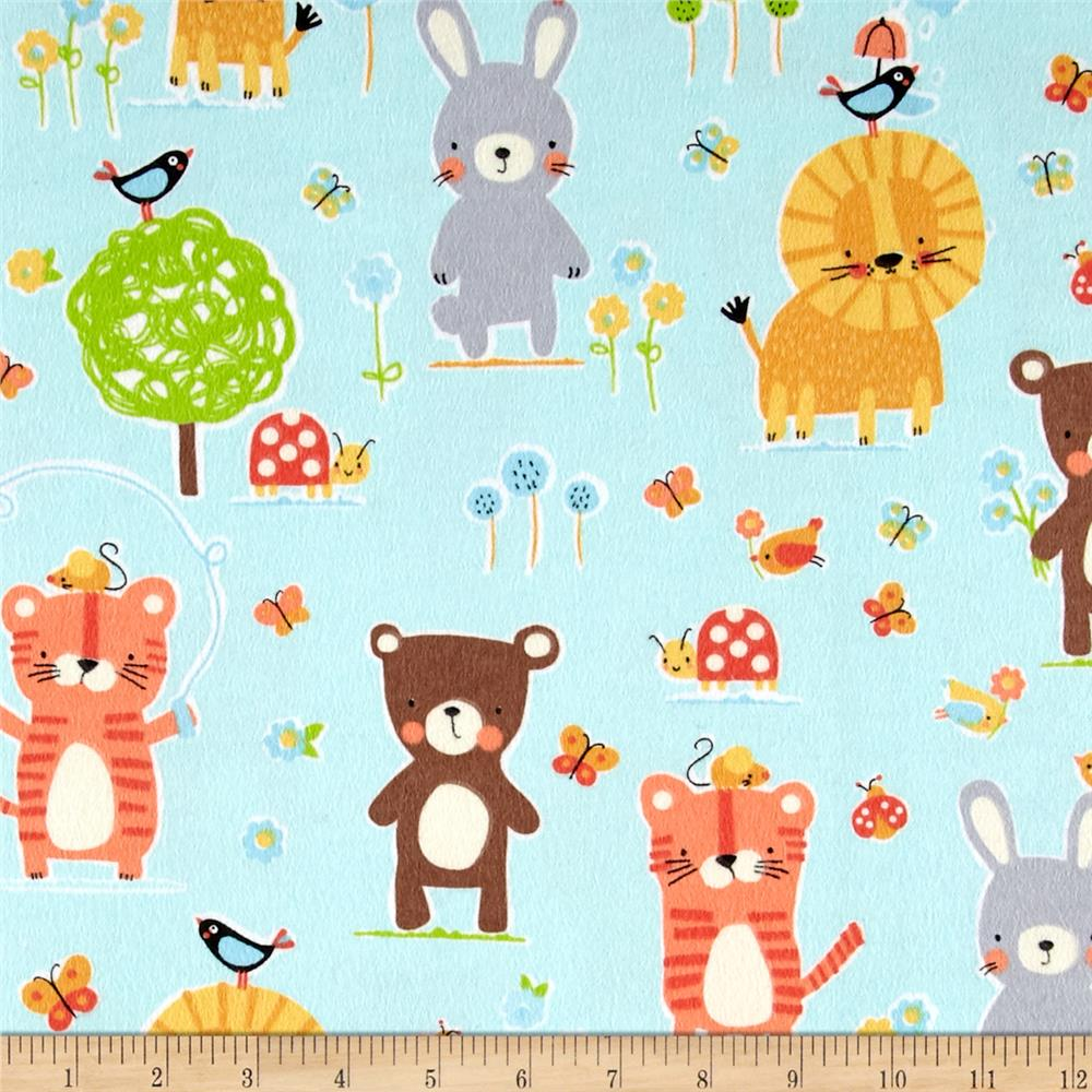 Michael Miller Nature Babies Flannel Nature Babies Aqua Fabric By The Yard