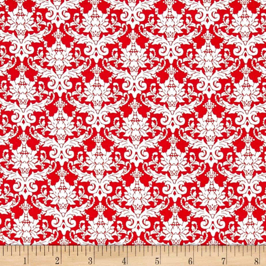 Paris Christmas Holly Damask Red White