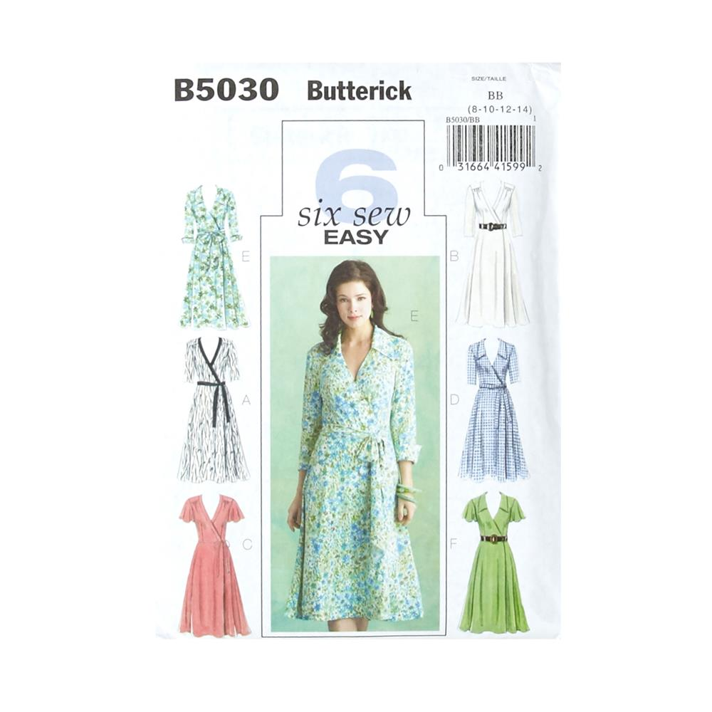 Butterick Misses' Dress, Belt and Sash Pattern B5030 Size BB0