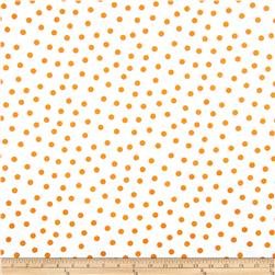 Oil Cloth Polka Dot White/Orange Fabric