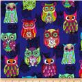 Timeless Treasures Embellished Owls Purple