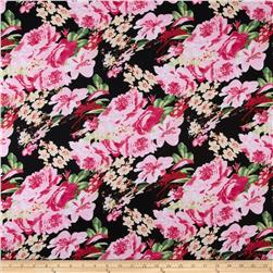 Stretch Ponte de Roma Knit Florals Black/Pink