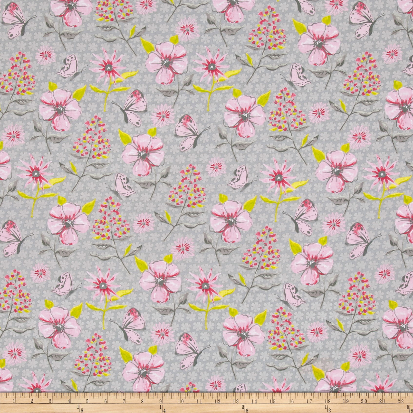 Flutter Floral Grey Fabric by Clothworks in USA