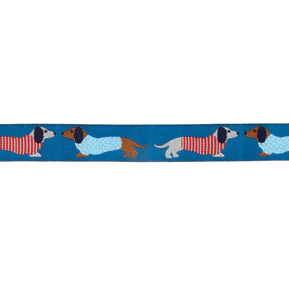"7/8"" Dachshund Ribbon Blue"
