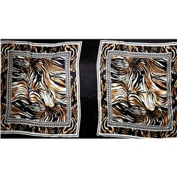 Charmeuse Satin Famed Zebra Print Black/Tan/White