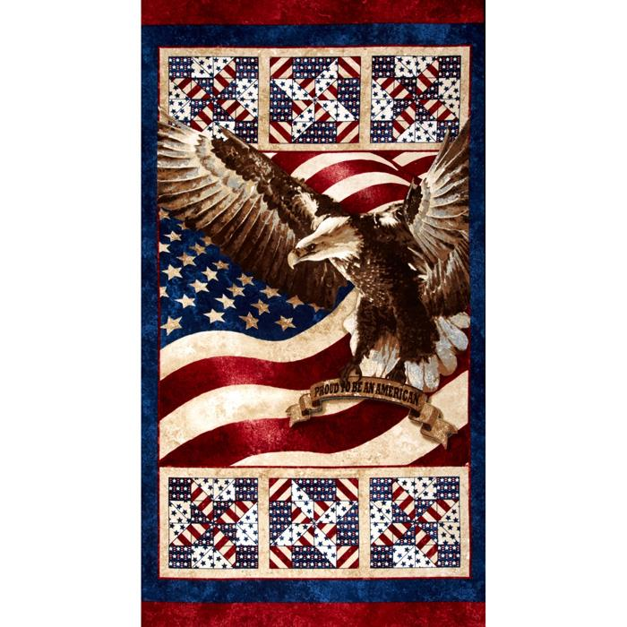 Stars & Stripes Flannel 24'' Panel Mutli