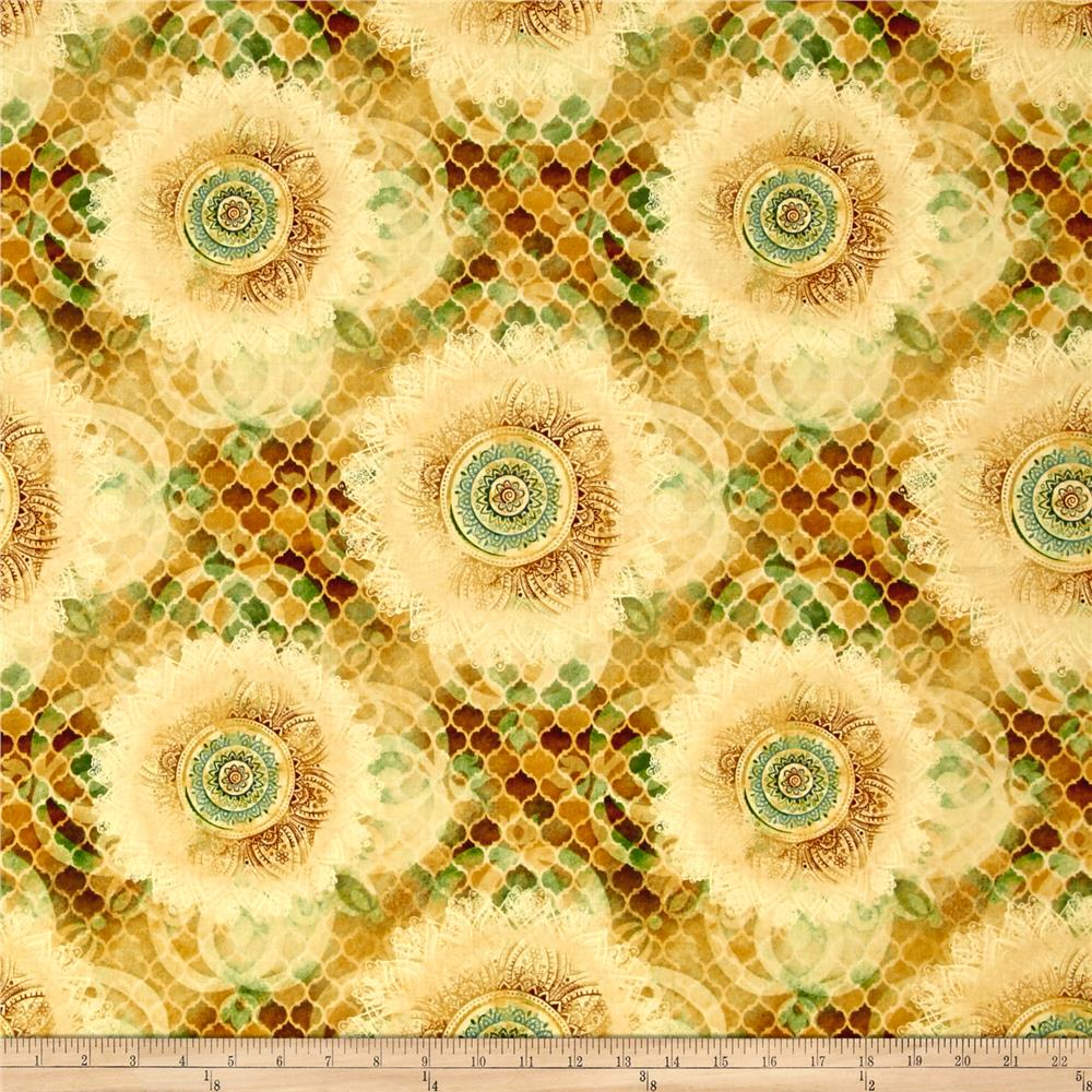 Arabesque Geometric Medallion Tan