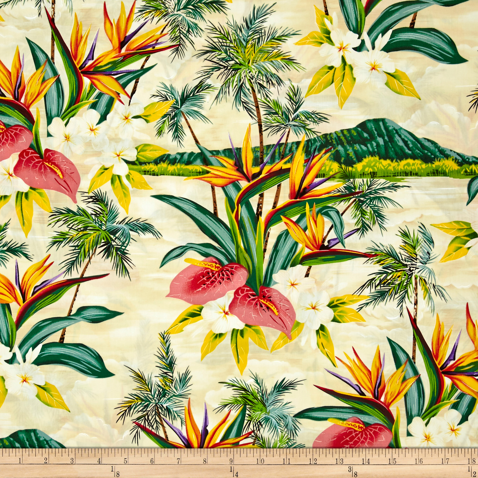 Hoffman Tropical Collection Volcano Ivory Fabric