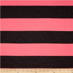 Jersey Knit Stripe Neon Pink/Dark Grey