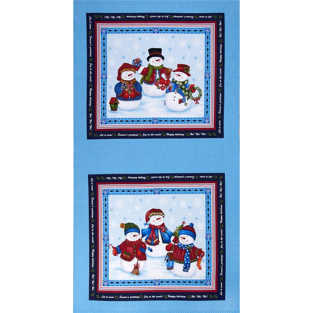 """Winter Wishes Snowman 24"""" Panel Blue/Red"""