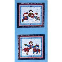 "Winter Wishes Snowman 24"" Panel Blue/Red"