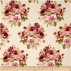 Stonehill Collection Rambling Rose Floral Beige/Olive/Pink/Red Fabric