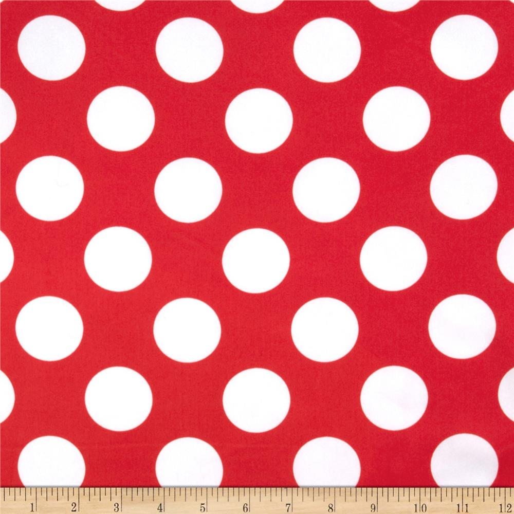 Charmeuse Satin Large Polka Dots Red/White Fabric By The Yard