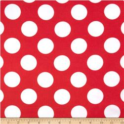 Charmeuse Satin Large Polka Dots Red/White Fabric