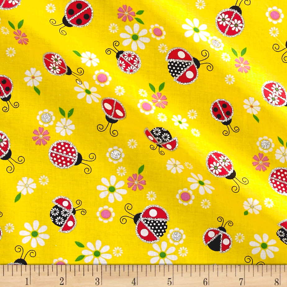 Glitter Lady Bugs Yellow Fabric by Fabric Traditions in USA