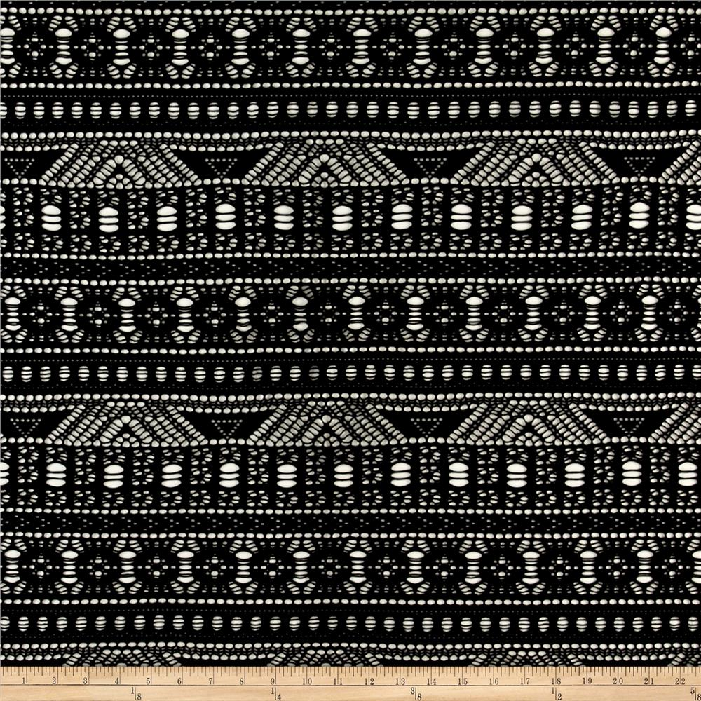 Floral Stripe Crochet Lace Black Fabric By The Yard