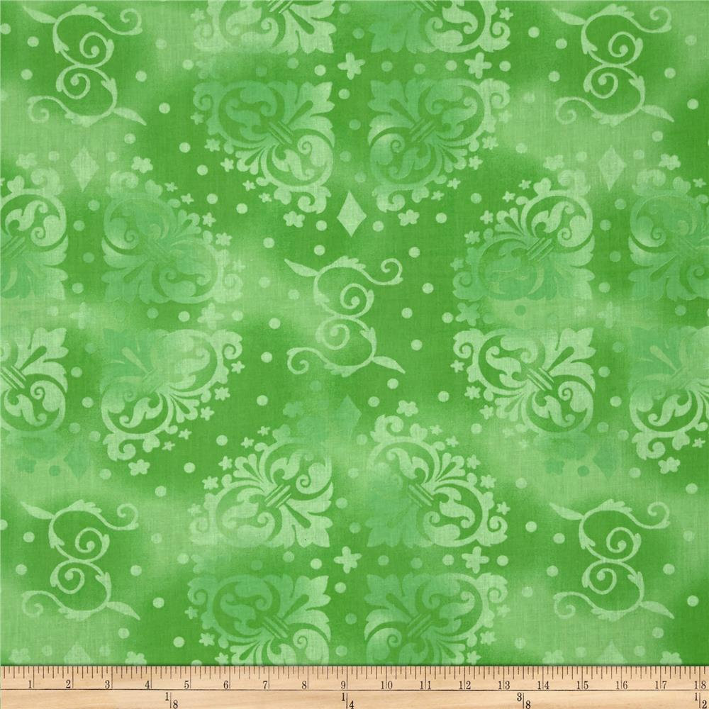 "108"" Quilt Backing Medallion Tonal Lime"