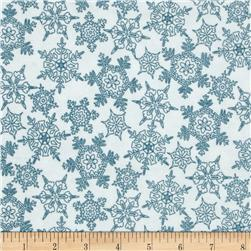 Frolic in the Snow Flannel Snowflakes White