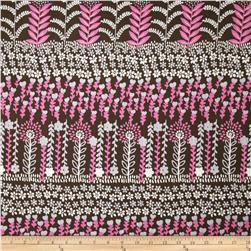 Cotton Lawn Hearts & Leaves Pink/Brown
