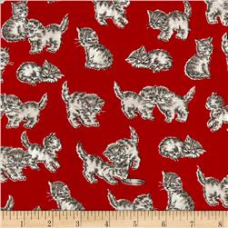 Robert Kaufman Whiskers & Tails Kitty Cats Red