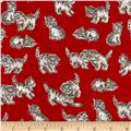 Kaufman Whiskers & Tails Kitty Cats Red
