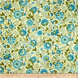 Timeless Treasures Emma Blue Jacobean Floral Allover Aqua