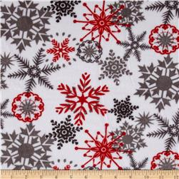 Kaufman Minky Cuddle Ice Crystals Scarlet