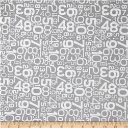 Riley Blake Gracie Girl Laminated Cotton Numbers Gray