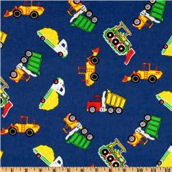 Camelot Flannel Tractors and Trucks Blue