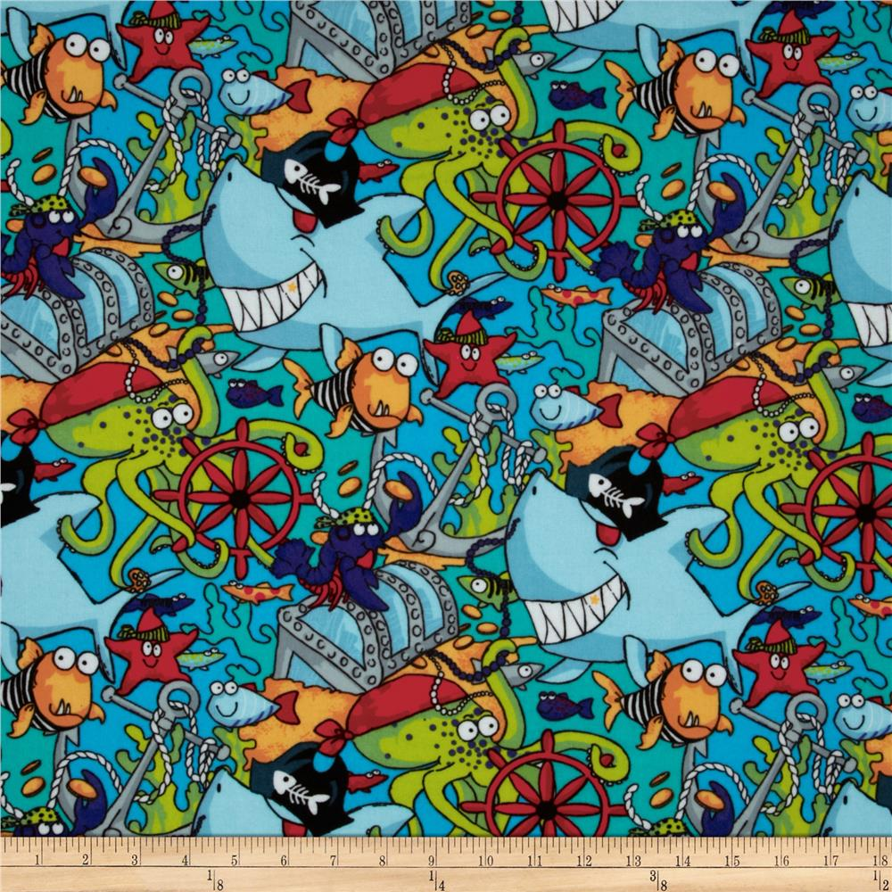 Flannel Sea Life Turquoise