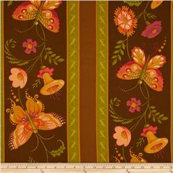 Mary Engelbreit Flutterby Wide Patterned Stripe Brown