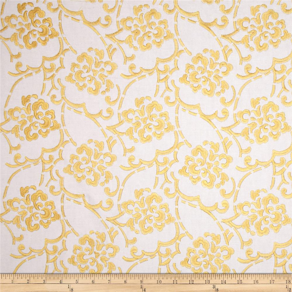 Duralee Embroidered Song Blend Yellow
