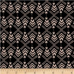 Rayon Jersey Knit Overcrowded Mirror Dimond Shapes on Black