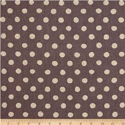 Kaufman Sevenberry Canvas Natural Dots Large Plum