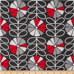 Kanvas Boy Meets Girl Houndstooth Poppy Charcoal Fabric