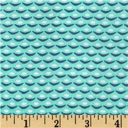 Designer Rayon Challis Mod Shapes Mint/Blue