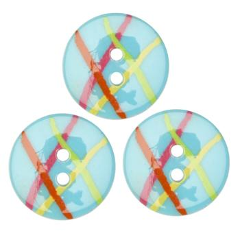 Fashion Button 3/4'' Confetti Lines Turquoise