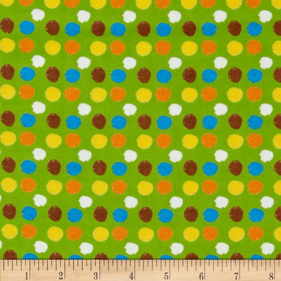 Flannel Novelties Tossed Dots Lime