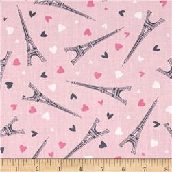 Timeless Treasures Eiffel Towers Pink
